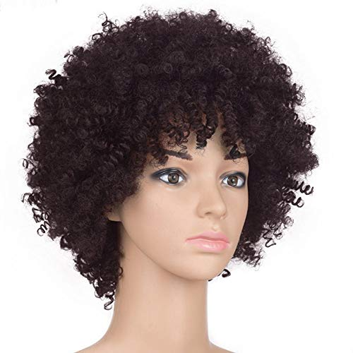 Wig,Explosion wig,Hippie Costume Wig,Halloween Costume Party Wig,Natural Looking Wigs,Both men and women are suitable for wearing (short, Brown) ()