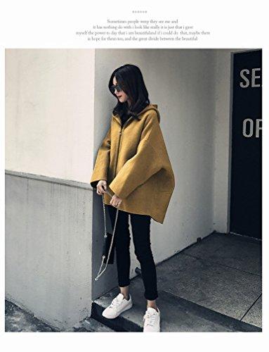 Coat Fashionable Jacket Winter Jacket Little Hooded Coat Yellow Loose Female Woolen LD dqgUREd8