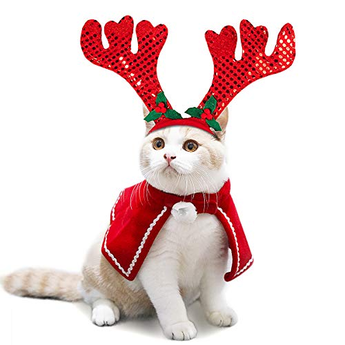 LESYPET Christmas Pet Costumes - Cat Dog Christmas Santa Costumes Hat with Cloak and Antler for Small to Medium Pets ()