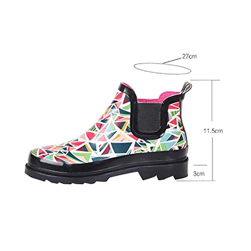 Zhuhaixmy Classic Sweet Womens Lady Ankle Rain Boots Non-slip Rain Shoes Rubber Rainboots One Color RjEohovN