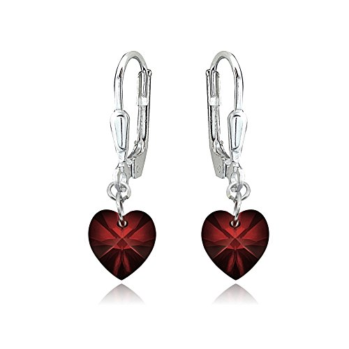 Sterling Silver Dark Red Dainty Heart Dangle Leverback Earrings Made with Swarovski Crystals