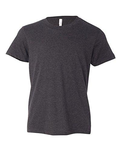 (Bella + Canvas Youth Jersey Short-Sleeve T-Shirt (3001Y)- DARK GREY HEATHER,S)