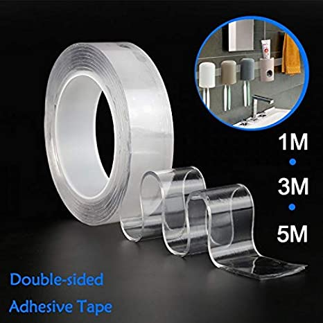 Papier m/étal Ruban adh/ésif Double Face adh/ésif Double Face Magic Tape Magic Nano Trickless Gel Gel Collant Ruban Adh/ésif Anti-Slip pour Verre 2Packs etc Bois Plastique
