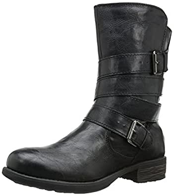 Rampage Women's Islet Motorcycle Buckle Mid Calf Low Heel Boot, Black, 6 M US