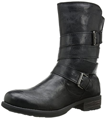 Rampage Women's Islet Motorcycle Buckle Mid Calf Low heel Boot,  Black , 9 M US ()