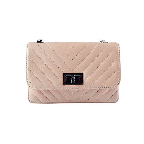 (SINDY Italian quilted cross body shoulder clutch purse metal and leather chain soft smooth chevron quilted leather (small DN nude))