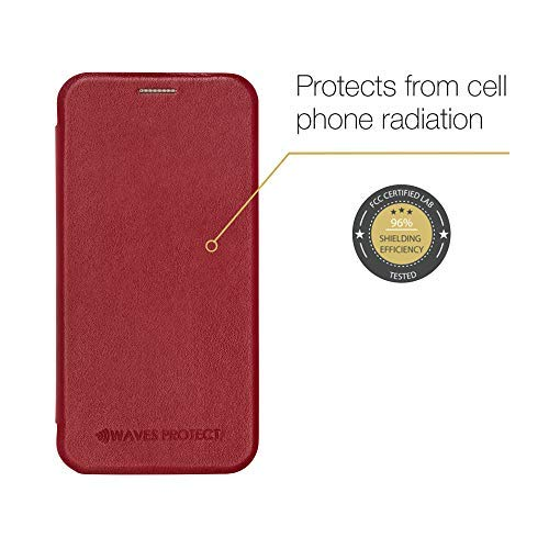 iPhone X XS/XS Max case Premium Leather flip Wallet Cell Phone Cover by Waves Protect Certified Anti-Radiation Protection (Red)