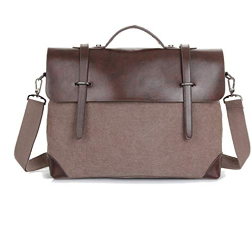 Vintage Men Messenger Bags Satchel Canvas Tote Crossbody Bag Leather Patchwork Handbags Coffee