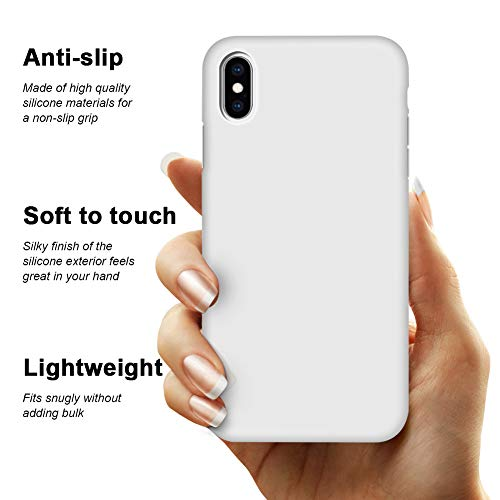 """iPhone Xs Max Case, Anuck Soft Silicone Gel Rubber Bumper Case Anti-Scratch Microfiber Lining Hard Shell Shockproof Full-Body Protective Case Cover for Apple iPhone Xs Max 6.5"""" 2018 - White"""