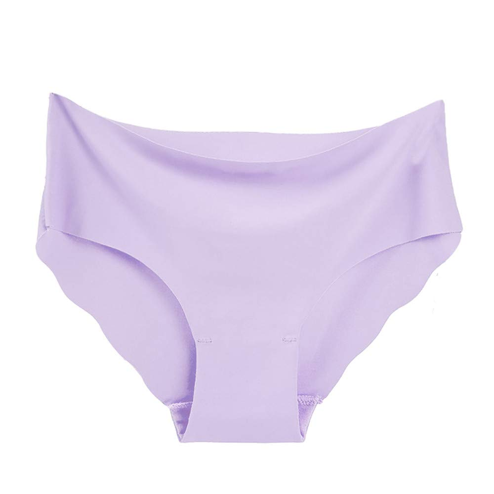 Sexy Underwear for Women, Seamless Ice Silk Breathable Middle Waist Panties (XL, Purple)