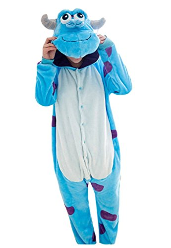 Sully Costumes Womens (Baoji Unisex Adult Sulley Onesie Kigurumi Pajamas Cosplay Costume Animal L Blue)