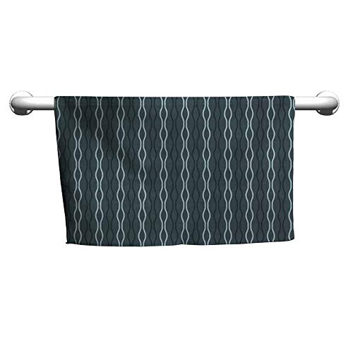duommhome Blue Water-Absorbing Bath Towel Ocean Under The Sea Wave Lines Zebra Inspired Stipes Image W10 x L10 Slate Blue Sky Blue and Almond Green