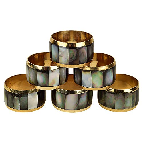 GAURI KOHLI Black Mother of Pearl & Brass Napkin Rings | Classic Design (Set of 6)