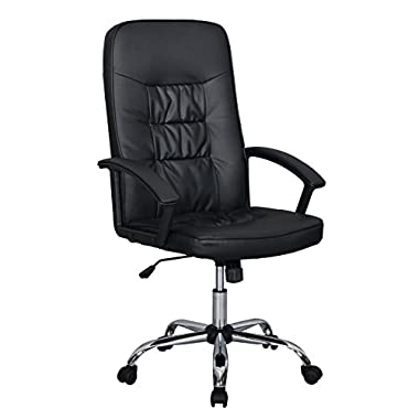 Black High Back Executive Office PU Leather Ergonomic Chair Computer Desk
