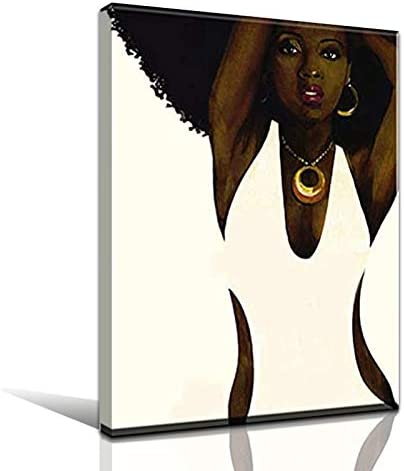 Faicai Art Black and White Wall Art African Afro Sexy Woman Canvas Prints HD Printed Abstract Portrait Printing Paintings Home Decor Art Work Picture