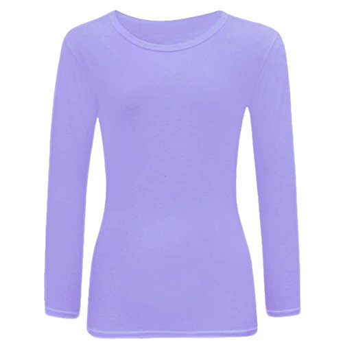New Kids Girls Plain Full Long Sleeve Tops Shirts Size Age 7-13 Years (7-8 Years, Lilac)