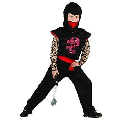 Disfraz ninja rojo y negro niño - 7 - 9 años: Amazon.es ...
