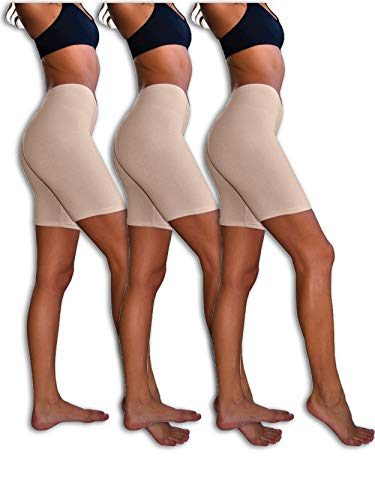 Sexy Basics Womens 3 Pack Sheer & Sexy Cotton Spandex Boyshort Yoga Bike Shorts (Medium -6, KHAKI)