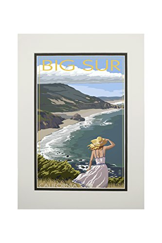 Big Sur, California - Coast Scene (11x14 Double-Matted Art Print, Wall Decor Ready to Frame) ()
