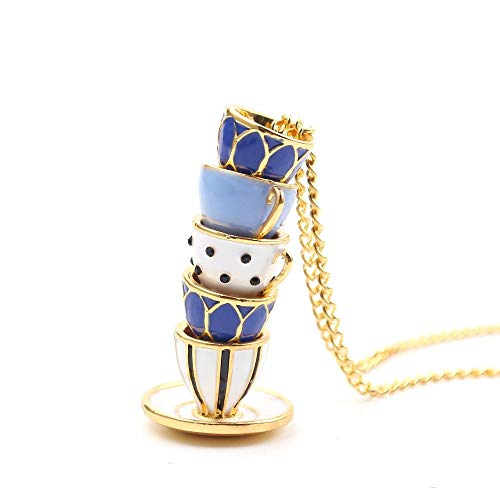 HNJingHand Made Sweater Chain Clothing Accessories Long Necklace Enamel Jewelry Tea Cup Necklace Pendant Woman, Muliti Color