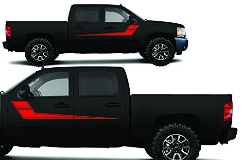 (Factory Crafts Rally Stripe 2 Side Graphics Kit 3M Vinyl Decal Wrap Compatible with Chevrolet Silverado Crew Cab 2008-2013 - Dark Red)