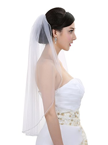1T 1 Tier Pearls Bugle Beaded Wedding Veil V395 - Ivory Elbow Length 30