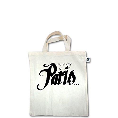 Vintage - Paris - une rue á Paris - Unisize - Natural - XT500 - Fairtrade Henkeltasche / Jutebeutel mit kurzen Henkeln aus Bio-Baumwolle