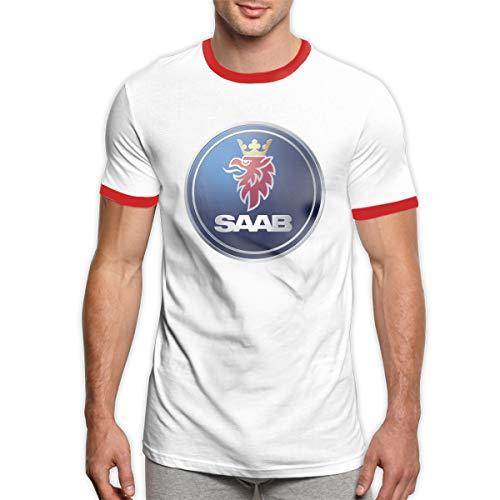 TIANXIN Designed T Shirt General Motors Saab Logo T Shirt O-Neck 100% Preshrunk Cotton for Men Red