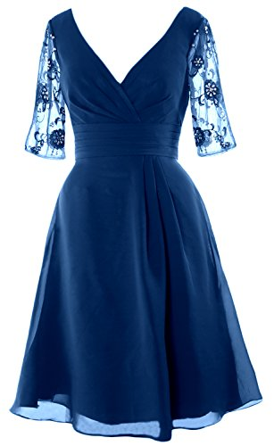 V MACloth Women the Teal Sleeves Dress Bride Neck Half Cocktail Short Dress of Mother FSqtdS