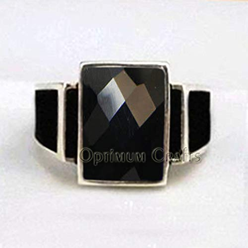 (Checker Black Onyx Ring, Mens Art Deco Signet Ring, Handmade 925 Sterling Silver Jewelry, Mens Black Ring, Statement Ring for Him, Black Onyx Ring, Mens Black Onyx Ring, Handmade Gemstone Ring)