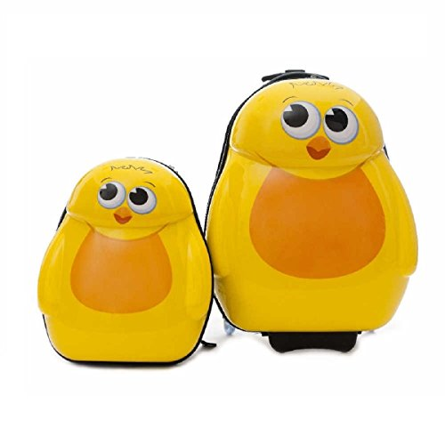 2 Piece Farm House Cute Chicks Design Rolling Lightweight Luggage Suitcases, Graphic Adorable Tweets Birds Themed, Hardsided, Hardshell, Fashionable, Whimsical Kids Handle Travel Cases, Yellow, Cream by S & E
