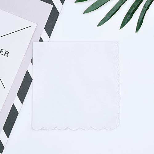 Solid White Cotton Handkerchiefs with Scalloped Edge Hankies for Women Ladies and Teaching
