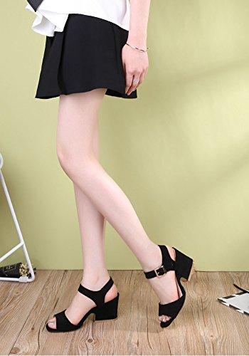 Talon Mot À Sandales Zcjb Chaussures Noir Femme Épaisse Ouvert Boucle Bout Été Mi qAzOAFnS