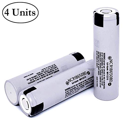 4 Pack 3.7V 3200mah 10A Panasonic Rechargeable Flat Top Lithium Ion NCR18650BD Batteries