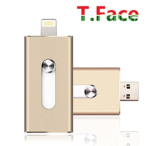 T.Face 8GB Flash Drive with 8 pin Lightning Connector drive HD memory stick Dual purpose mobile Otg Micro Usb Flash Drive for iPhones 6s/6s Plus (Gold)