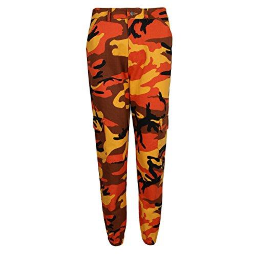 Pour Multi poches À Fenteer Pantalon Avec Camouflage Imprimé Orange Femmes XqO50wxR