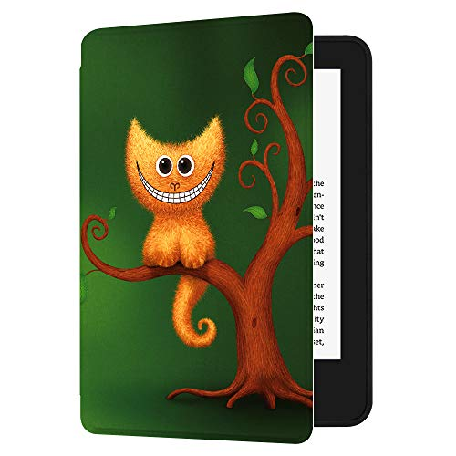 Huasiru Painting Case for All-New Kindle (10th Generation-2019 Only) with Auto Sleep/Wake, Cheshire Kitten