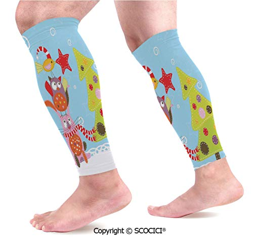 Flexible Breathable Comfortable Leg Skin Protector Sleeve Funny Cartoon Stylized Cat Owl and a Bird Best Animals Gifts Noel Print Calf Compression Sleeve