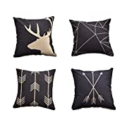 AliceHouse Cotton Linen Decorative Throw Pillow Case Cushion Cover 18  X18  Set of 4 , Horse,Deer,Arrow TP012-1