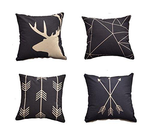"AliceHouse Cotton Linen Decorative Throw Pillow Case Cushion Cover 18 ""X18"" Set of 4 , Horse,Deer,Arrow TP012-1"