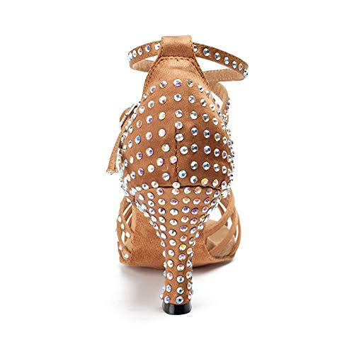 Baile 8 Color Para Con De Interiores Suave Marrón Cm Fondo Latino Diamantes Alto Hccy Mujer Zapatos Adulta Tacón 5 axS1AA