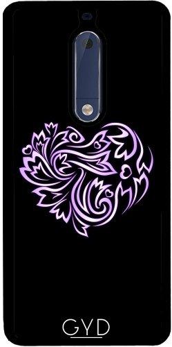Funda de silicona para Nokia 5 - Púrpura Corazón Floral Negro by Nina Baydur