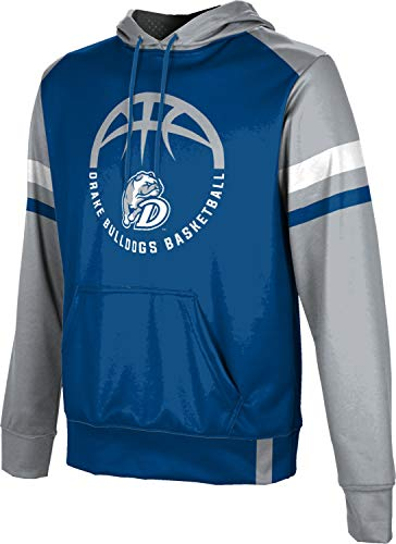 ProSphere Drake University Basketball Men's Pullover Hoodie, School Spirit Sweatshirt (Old School) 10023 Blue and Gray