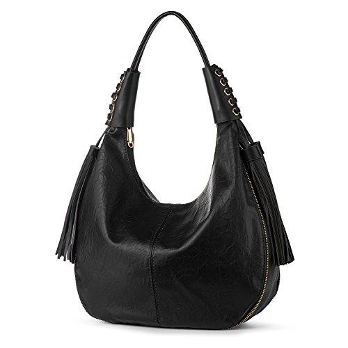 Hobo Shoulder Bag for Women Vegan Leather Top Handle Handbag Tote Purse Work Travel Large Capacity Casual Tassels Black + Katloo Nail Clipper