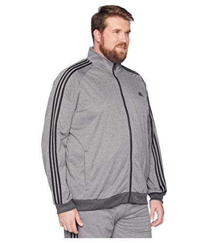 d467065a8ff3 adidas Men s Big   Tall Essentials 3-Stripes Tricot Track Jacket Dark Grey  Heather Solid