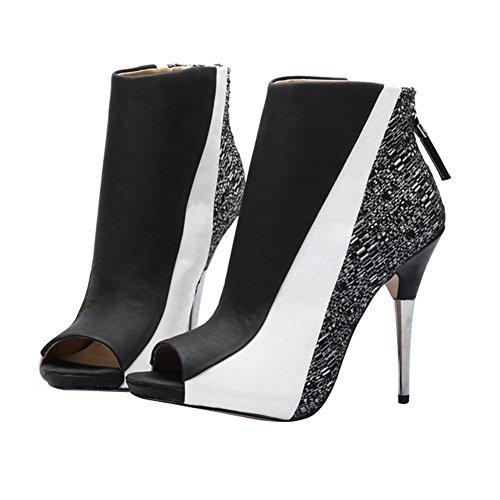 Fereshte Donna Moda Peep Toe Stiletto Con Cerniera Lampo Sandali Sexy Bianco E Nero