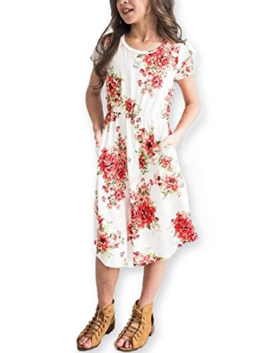 Girls Floral Maxi Dress Kids Summer Casual Pocket Short Sleeve T Shirt for Girls,White,12 Year