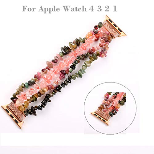 Sodoop Wristband + TPU Plating Screen Protector Case Bumper Compatible for Apple Watch, Luxury Beads Jewelry Watch Band Replacement Straps for Apple Watch 4/3/2/1 42MM - Watch First Luxury