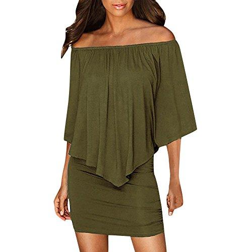 ADREAML Women Off Shoulder Ruffles Bodycon Mini Dress Arm Green ()