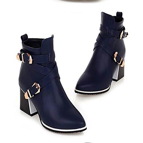 Señaló Qxw Gruesas y Tacón Alto Zipper Cinturón Botas Cortas de Mujeres Blue